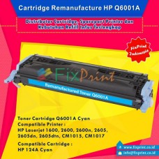 Cartridge Toner Remanufactured Q6001A Cyan 124A, Printer HP Laserjet 1600 2600 2600n 2605 2605dn 2605dtn CM1015 CM1017