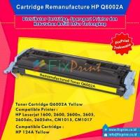 Cartridge Toner Remanufactured Q6002 Yellow 124A, Printer HP Laserjet 1600 2600 2600n 2605 2605dn 2605dtn CM1015 CM1017
