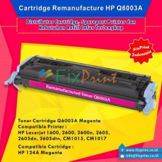 Cartridge Toner Remanufactured Q6003 Magenta 124A, Printer HP Laserjet 1600 2600 2600n 2605 2605dn 2605dtn CM1015 CM1017