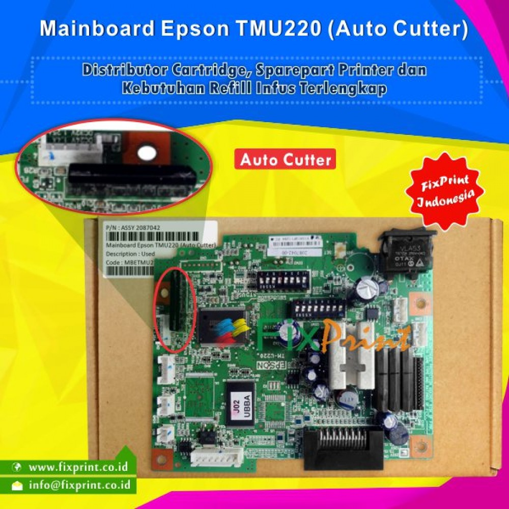 Board Printer Epson TM-U220 Auto Cutter, Mainboard TMU220, Motherboard TMU-220 Used (Auto Cutter), Part Number Assy 2087044-00