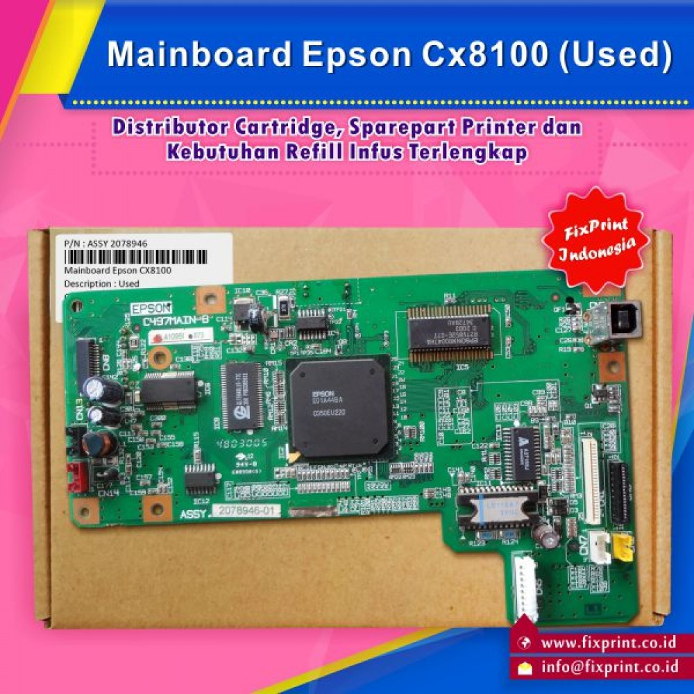Board Printer Epson CX8100, Mainboard Epson CX-8100, Motherboard CX8100 Bekas Like New