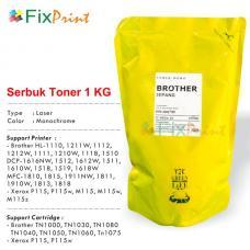 Serbuk Refill Brother tn-1000 tn1000 tn-1080 Tn-1030 TN1040 TN1050 TN1060 TN1075 Xerox P115 M115 1 kg, Bubuk Refill Printer Hl-1110 Hl-1111 Hl-1112 HL-1118 HL-1211w MFC-1810 Dcp-1510 Dcp-1511 Dcp-1512 Dcp-1515 1 kg
